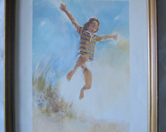 "Vintage 1977 ""First Flight"" Water Color Print by Bill Robles"