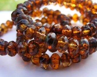 RUSTICA . 5x3mm . czech glass rondelles . 30 beads . rust . brown. picasso (bk047)