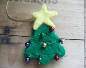 Christmas Tree Ornament Green Wool Needle Felted Holiday Tree