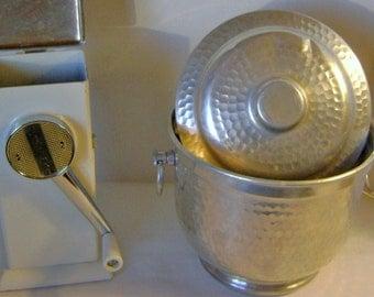 vintage ice  crusher and  bucket