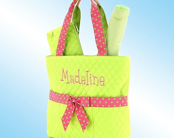 Diaper Bag - 3 Piece Personalized Set - Quilted Lime Green with Hot Pink Accents and Lime Green Polka Dots