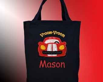 Personalized Embroidered Canvas Tote Bag - RACE CAR Applique - Free Shipping