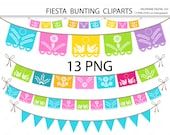 Fiesta Digital bunting clipart, mexican clip art, clipart for invitations, scrapbooking - 13 PNG files - INSTANT DOWNLOAD Pack 533