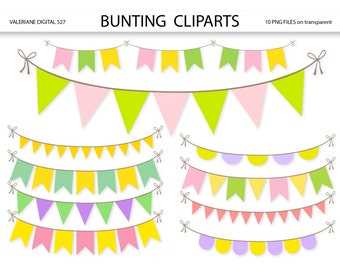 Bunting  clipart, pennant clip art, clipart for invitations, scrapbooking - 10 PNG files - INSTANT DOWNLOAD Pack 527
