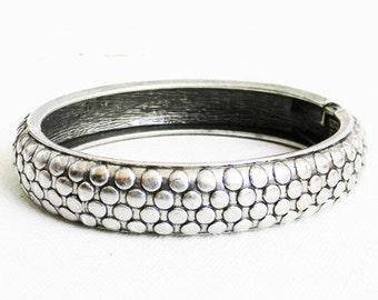Vintage Silver Bracelet Dot Cuff Hinge Design