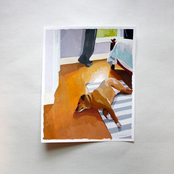 "dog painting - original art - ""Bruce Sleeping"""