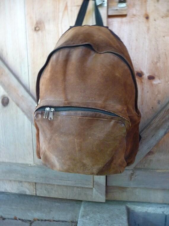 Vintage EASTPAK Suede Backpack - Large SUEDE Rustic back pack day pack by Eastpak USA