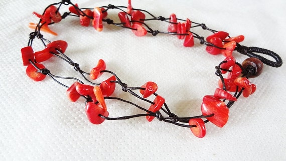 handmade bracelet anklet 184 vintage coral wax cord adorable