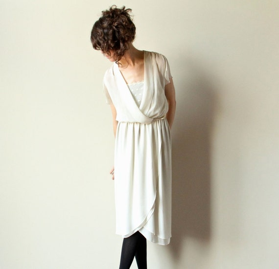 70s Ivory Disco Dress, sheer off white cream faux wrap grecian wedding dress, flutter sleeves, tiered skirt, casual indie bridal gown