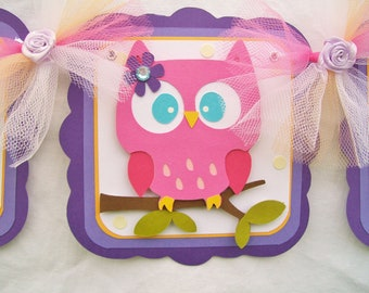 Owl banner, baby shower banner, its a girl, lavendar, purple, orange, white, pink and ivory polka dots