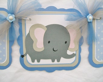 elephant baby shower banner, elephant banner banner, gray and blue, boy elephant banner, its a boy banner, boy decorations, party banner