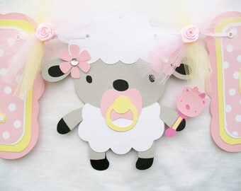 Its a girl lamb baby shower banner in pink and yellow with polka dots