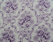 Vintage French  Fabric Lavender Roses Rosebuds Ribbon BowsSuitable for Patchwork Quilting Lavender Bags Feedsack Pillow