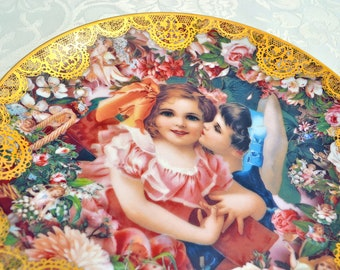 Romantic Victorian Keepsakes Plate Collection - Dearest Kiss - Midsummer Nights Dream Cottage Chic Fine China Dish