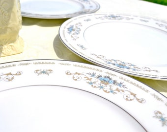 Diane by Wade Dinner Plates Something Blue Wedding Floral Fine China Porcelain Platinum Silver Set of Five Dishes
