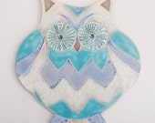 Owl.. a handmade ceramic wall plaque in turquoise and blue