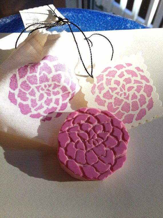 Hand Carved Stamp - Round Fluffy Flower Rubber Stamp