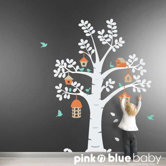 Bird Houses Tree Decal,   Nursery Kids Wall Decal , Kids Wall Decor Sticker
