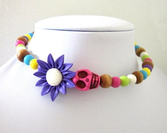 Day of the Dead Necklace Sugar Skull Choker Yellow Blue Purple Daisy Flower Pink