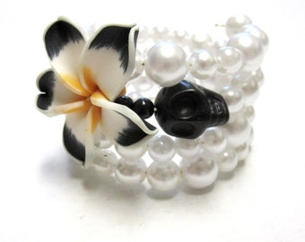 Day of the Dead Bracelet Sugar Skull Cuff Wrap Memory Wire Black White Hibiscus Flower