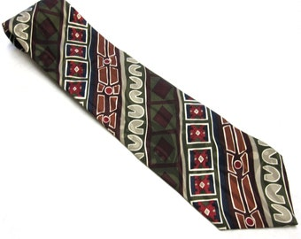 Black Red White Gold Necktie Silk Tie