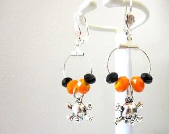 Skull Earrings Day of the Dead Earrings Skull Jewelry Black Orange Hoop