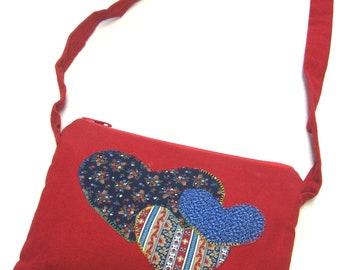 Red Purse Patchwork Heart Shoulder Bag