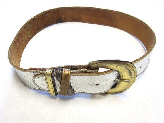 silver belt womens small leather wide