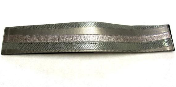 Wide Silver Gray Sage Green Belt Cinch Stretch Elastic Size L XL