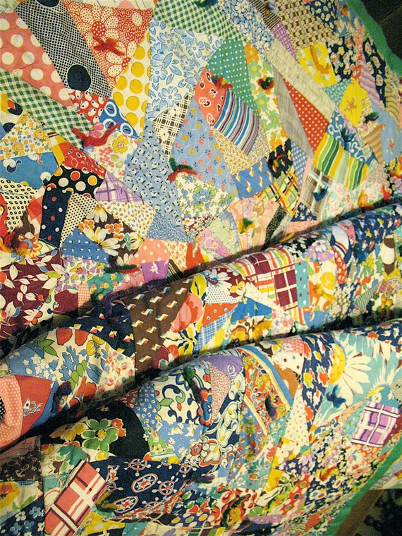 "Knotted Pieced Crazy Quilt  Beautifully made 67'x82"" 1930 Vintage Like New"