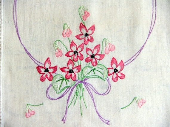 Embroidered Runner with Purple Violet Flowers, Cottage Chic
