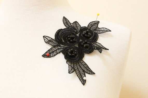 2pcs of Black Embroidery Flower on Organza Base with Pearl & Sequins Beading