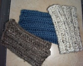 Custom Listing  Do NOT buy unless you are Donna Russell Boot Cuffs, Boot Toppers, Ankle Warmers oatmeal, barley and denim hand knit.