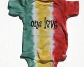 SALE infant rasta tie dyed one love bodysuit