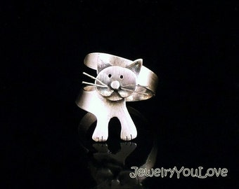 Sterling Silver Cat Ring -  Biscuit
