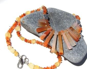 Orange Carnelian and Silver Necklace - Orange Fan Necklace - Boho Necklace