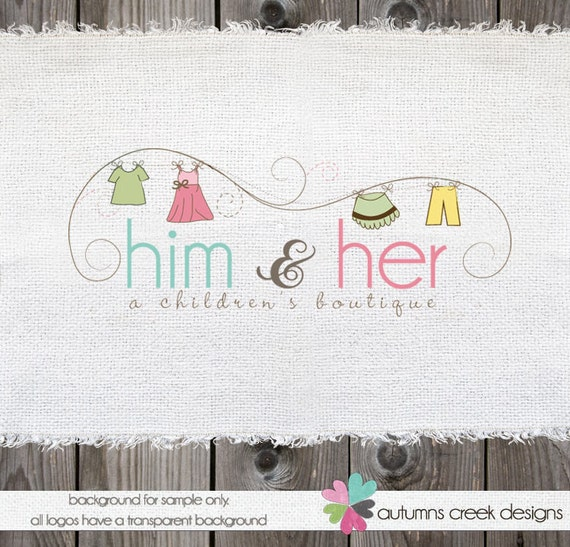 Premade Logo Design Hand Drawn Clothing Sewing  Shop Logo Watermark Design-NEVER RESOLD OOAK