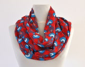 Cotton Loop Scarf Infinity Scarf Floral Scarf Women Scarf Red Blue White Gift for Her