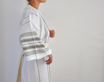 Bathrobe Kimono Robe Peshtemal Robe Caftan Turkish Bath Towel Bath and Beauty Eco Friendly Obi Belt White Military Olive Green Sage