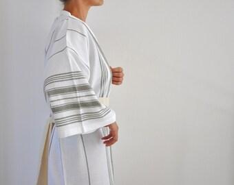 Bathrobe Kimono Robe Peshtemal Robe Caftan Turkish Bath Towel Bath and Beauty Eco Friendly Obi Belt White Military Olive Green Sage