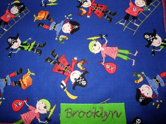 Baby Boy Blanket - Ribbon Lovey Taggie Blanket - Pirates Baby Blanket