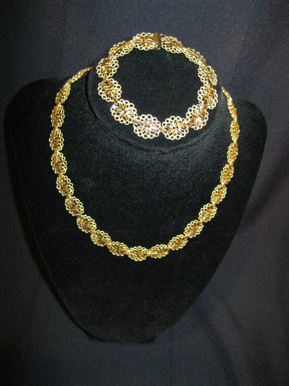 Rare 14K Solid Gold Necklace and Bracelet Set