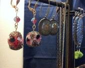 Pink Floral Bead Earrings