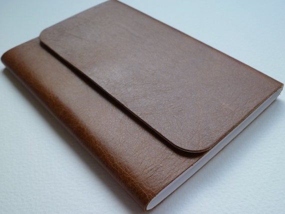 Leather Bound Notebook/Journal  Traditional Tan With an Antique finish. Handmade