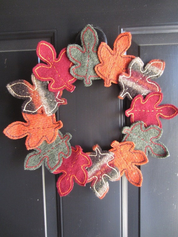 Upcycled Felted Wool Autumn or Fall Leaves Wreath