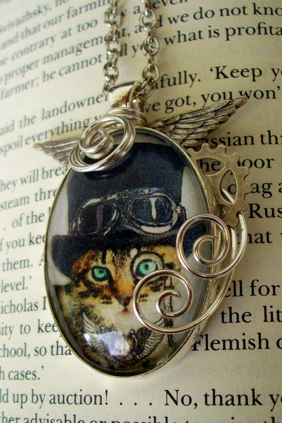 Steamunk Cat Necklace (N135) - Pendant - Artwork under Glass Cabochon - Wings - Gear - Wire Wrapped