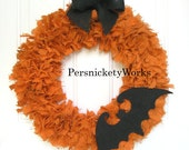"Clearance!  Burlap Halloween Wreath 20"" with Bat or Spider"