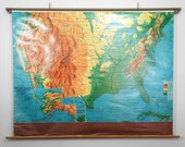 Vintage 1960's Weber Costello Pull Down Classroom Map - United States and Possessions