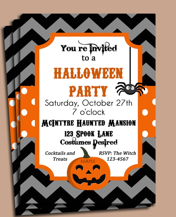 Halloween Party Invitation Printable or Printed with FREE – Free Printable Halloween Party Invitations Templates