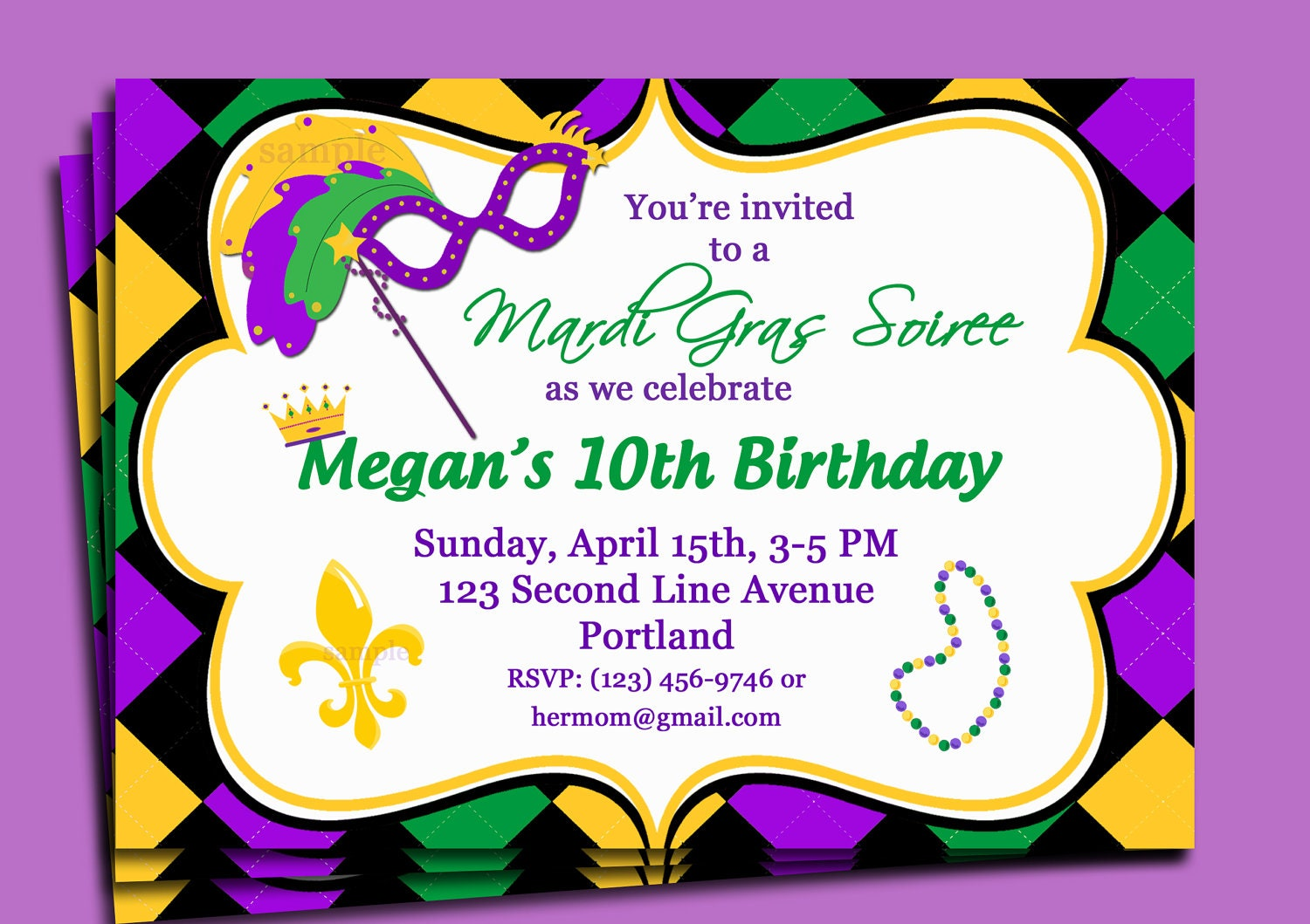 Sizzling image pertaining to free printable mardi gras invitations
